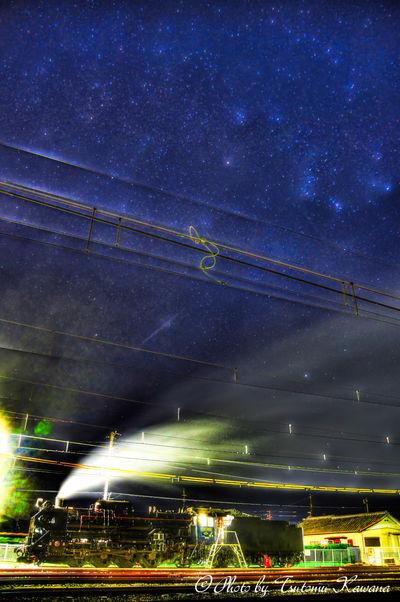 冬の大三角の星々に見守られて休む、D51.498機関車 | 絶景事典