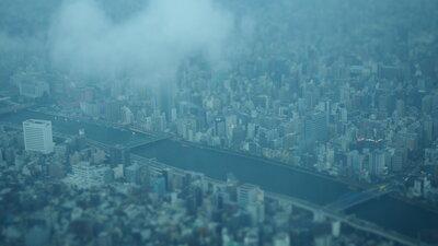 隅田川俯瞰 ミニチュア風に   絶景事典
