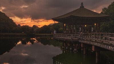 奈良 浮御堂 夕焼け | 絶景事典