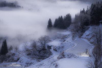 蒲生の棚田 冬の朝景 | 絶景事典