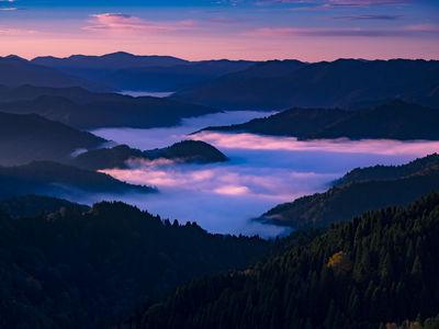 暁光に映える小入峠の雲海 | 絶景事典